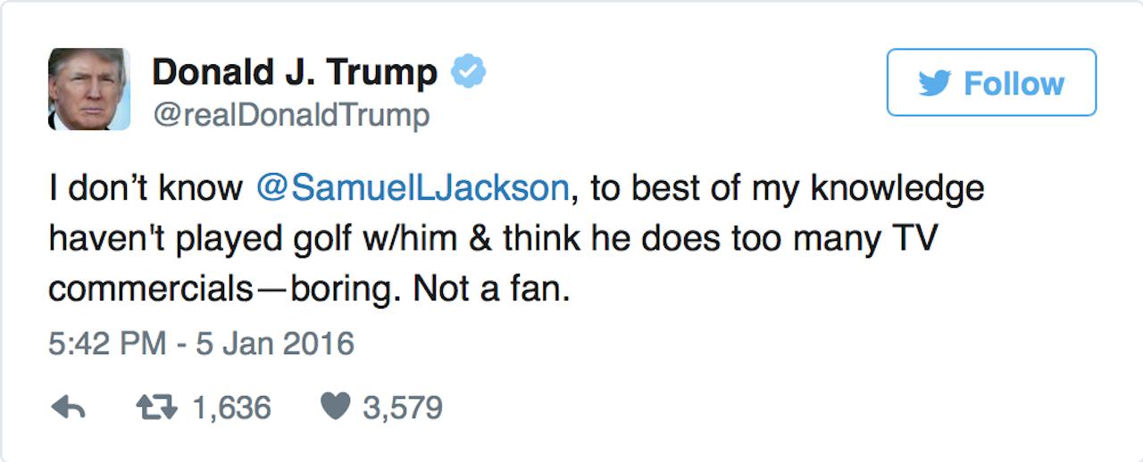 Trump spat with Samuel L. Jackson