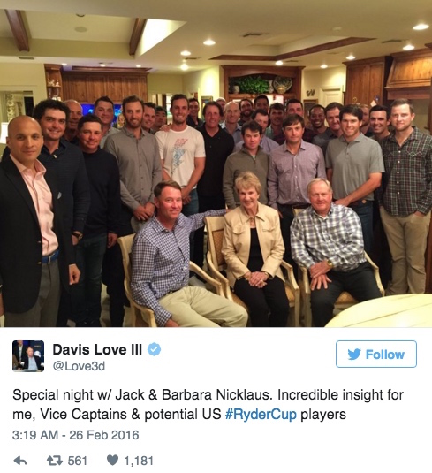 Jack Nicklaus invites Ryder Cup hopefuls to his house