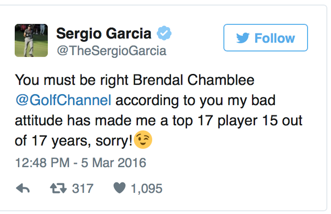 Sergio calls out Golf Channel's Brandel Chamblee
