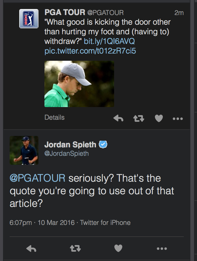 Jordan Spieth hits back at 'haters'