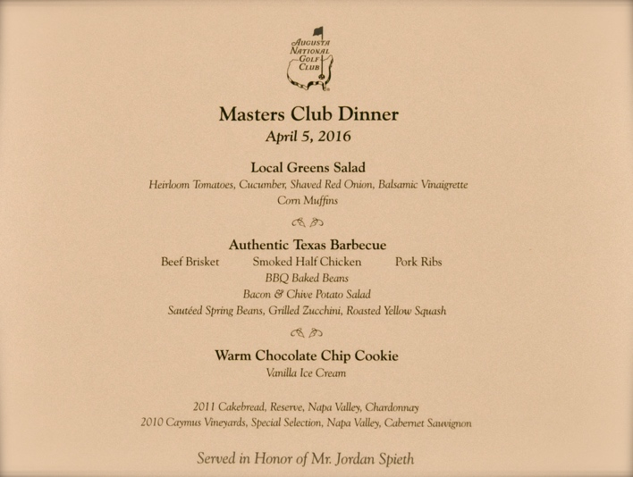 What happened at Jordan Spieth's Masters dinner?