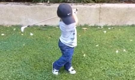 2 year olds' golf swings puts us to shame!