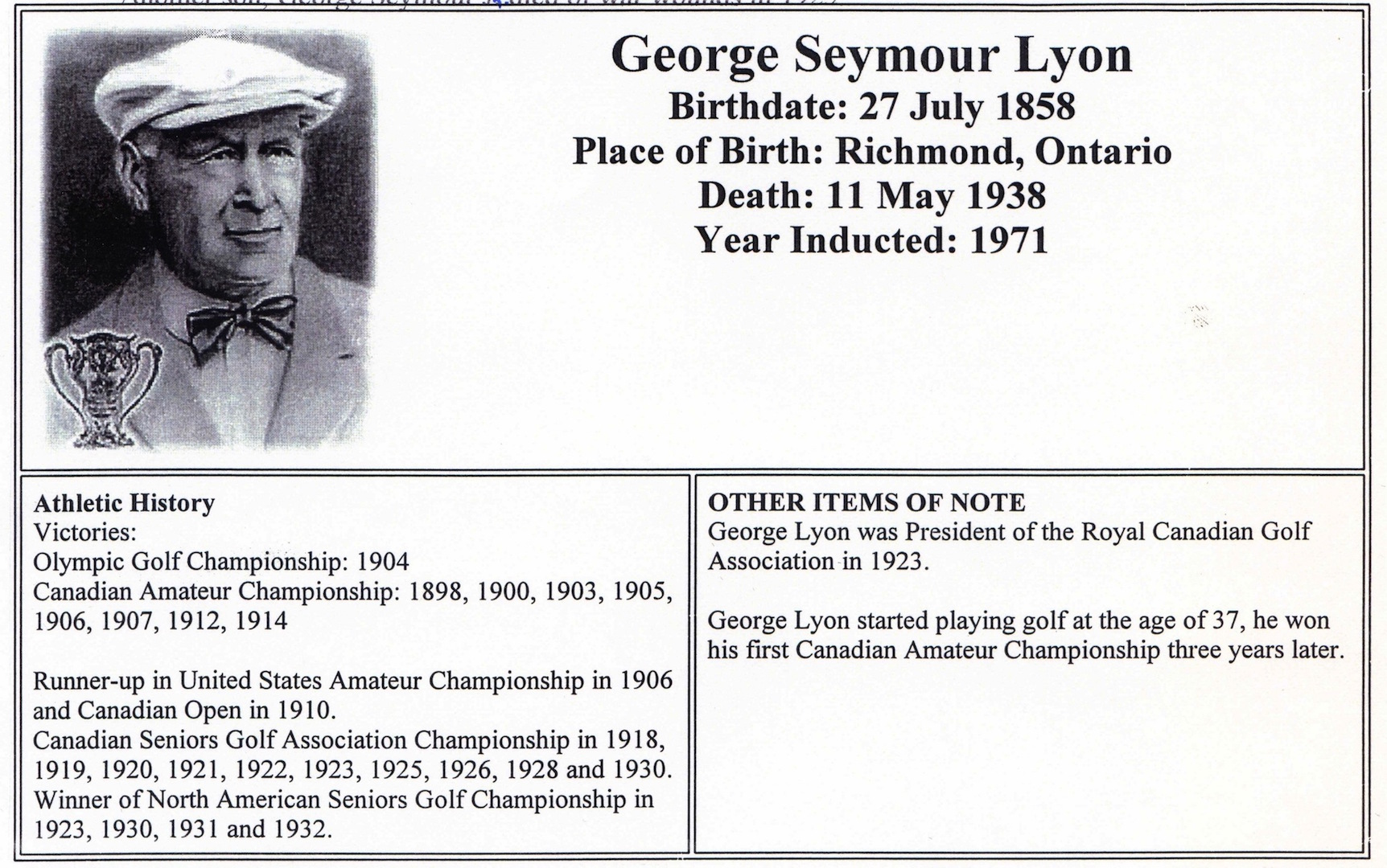 Olympic Golf Champion for 111,951 calendar years...