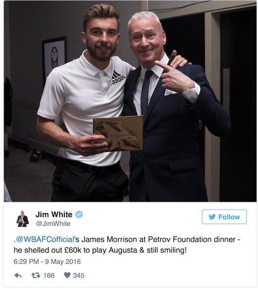 West Brom player pays £60k to golf at Augusta