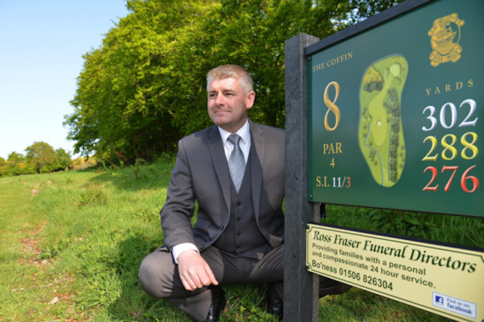 Funeral Director sponsors hole called 'The Coffin'