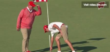Incredible slam dunk ace for college golfer