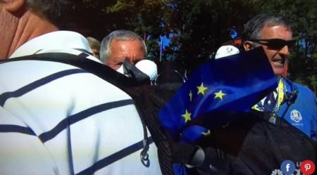 Koepka's drive finds Mr Pieters' back pack!
