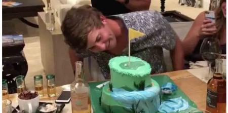 Smylie Kaufman gets caked for his birthday