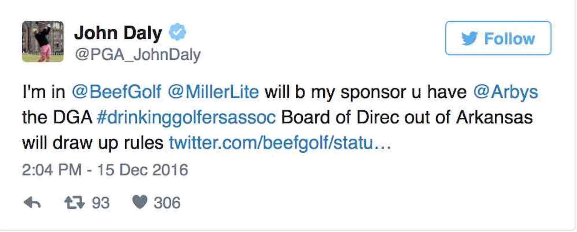 Is John Daly up for Birdies Beef and Beer Triathlon?