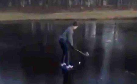 Epic ice golf fail