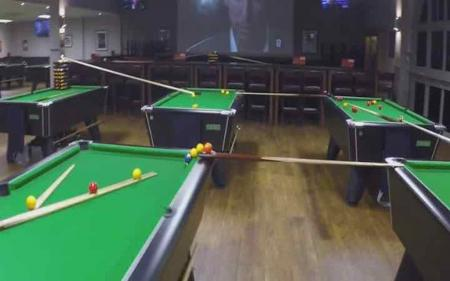 Epic snooker and golf trick shot