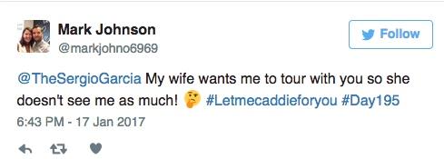 Sergio Garcia makes fan's caddie dream come true