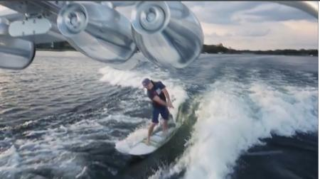 Wake boarding golf trick shot