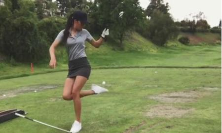 This girl can golf!