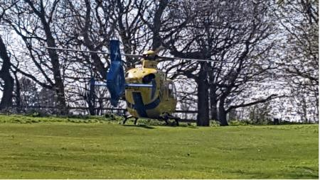 Helicopter blows golf ball into hole