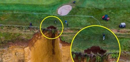 Cliffhanger! Dorset golf course falls into ocean