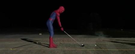 Spider-Man has been down the driving range