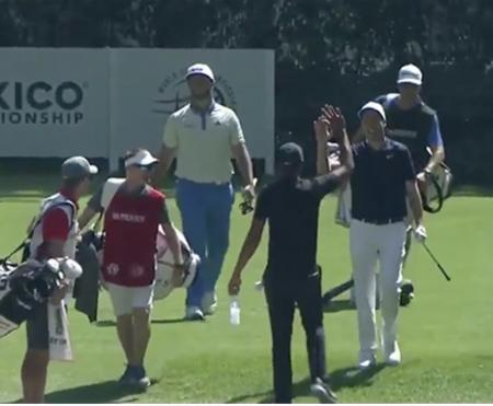 Ross Fisher makes a hole-in-one at the WGC Mexico