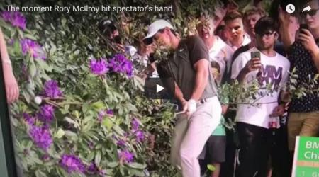 The moment Rory McIlroy hits spectator's hand