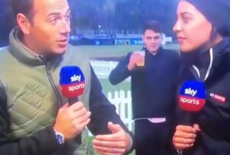 Cheeky golf fan necks pint in 4 seconds live on Sky