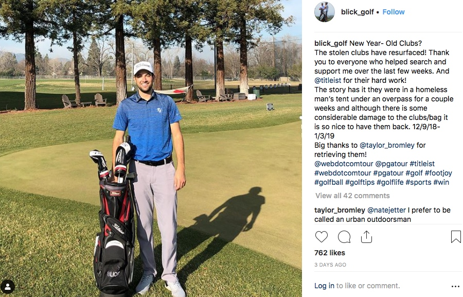 Homeless man sells Q-School winner's golf clubs to Arizona woman