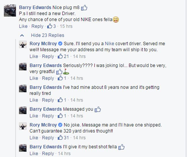 Rory stuns Facebook Fan
